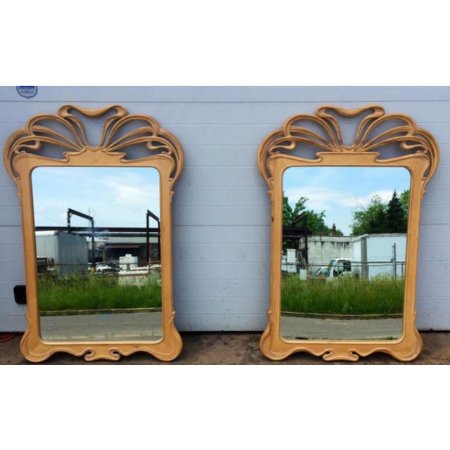 Art Nouveau Carved Wall Mirrors - A Pair - Image 4 of 6