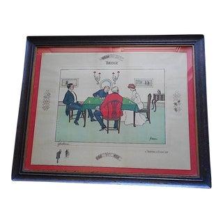 "Antique Card Game Lithograph ""Bridge""-Signed-Thackeray"
