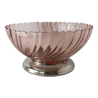 1960s French Pink & Silver Decorative Bowl For Sale