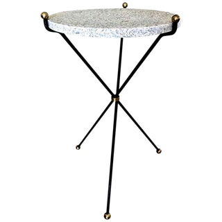 1950s Italian Brass and Steel Terrazzo Tripod Side Table For Sale