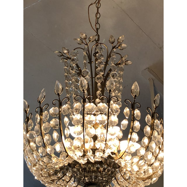 Glass Mid-Century Modern Cascading Crystal Chandelier For Sale - Image 7 of 12