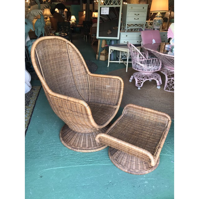 Vintage Wicker Egg Chair and Ottoman For Sale - Image 12 of 12