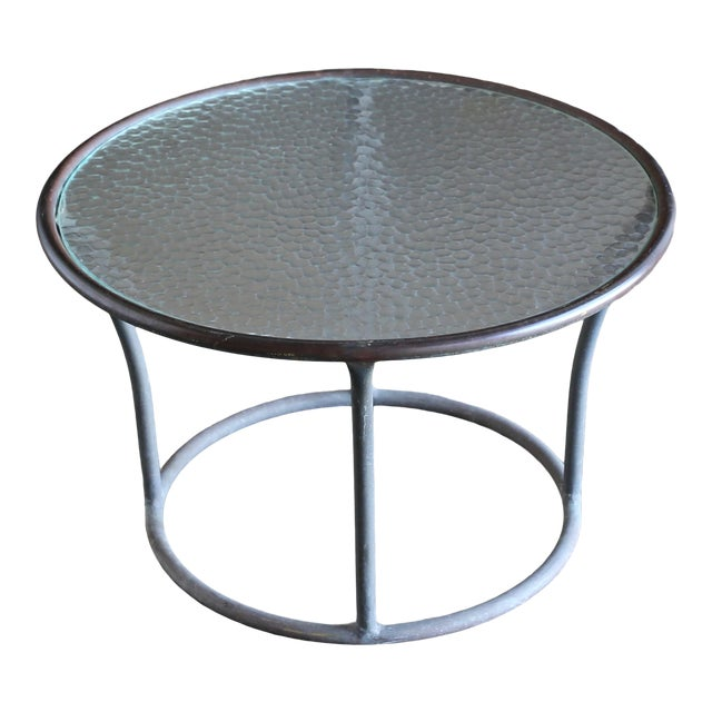 Bronze and Pebble Glass Side Table by Kipp Stewart for Terra Circa 1965 For Sale