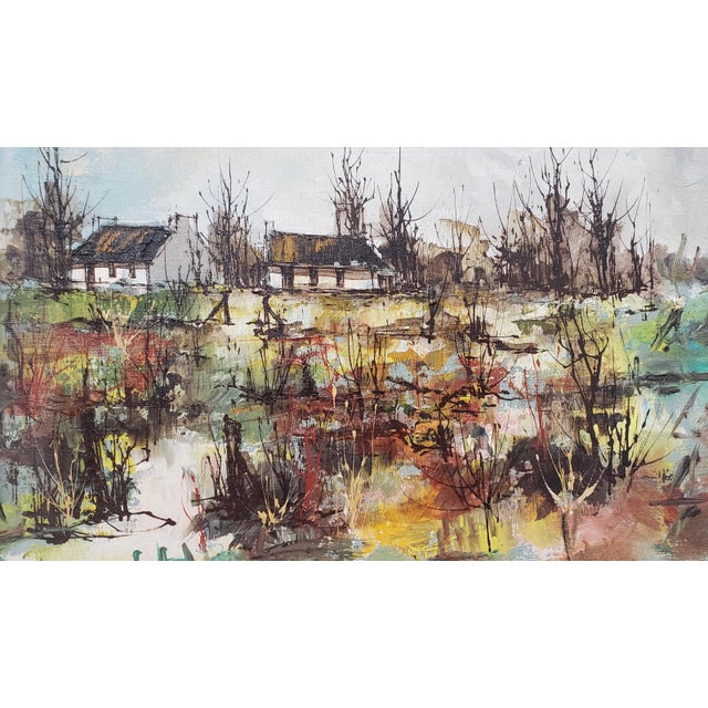 Maurice Verdier (France, 1919-2003) Vintage Normandy Village Landscape c.1970s Fine vintage oil painting by listed French...