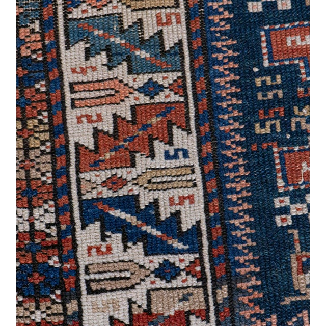 Textile Handwoven Antique Wool Caucasian Rug For Sale - Image 7 of 8