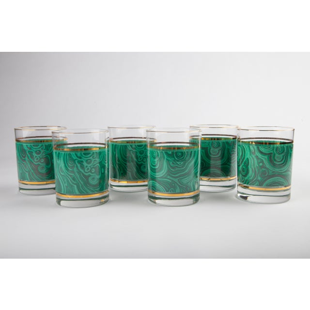 Beautiful set of 6 vintage malachite and gold banded tumblers from Nieman Marcus. Estimated 1970's vintage and in...