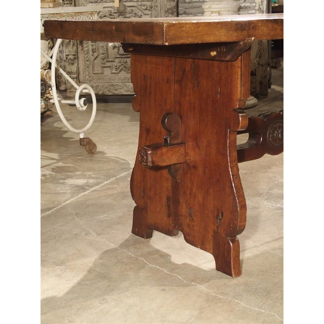 Brown Antique Walnut Refectory Table From Tuscan Mountain Region C. 18th Century For Sale - Image 8 of 13