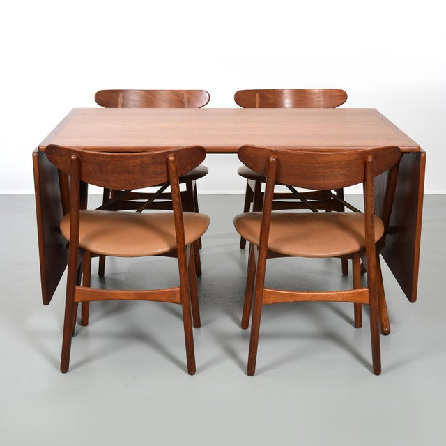 Hans Wegner Dining Set, Model At-304 Dining Table and Model Ch-30 Dining Chairs For Sale In Detroit - Image 6 of 10