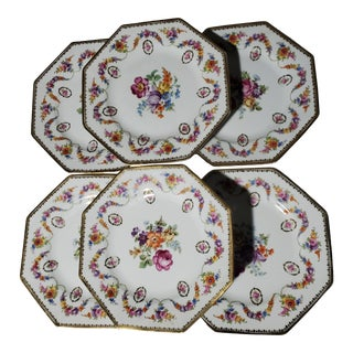 Antique Schumann Barvarian Hand-Painted Dessert Plates - Set of 6 For Sale