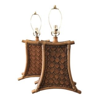 1980s Boho Chic Pagoda Themed Rattan and Leather Lamps - a Pair