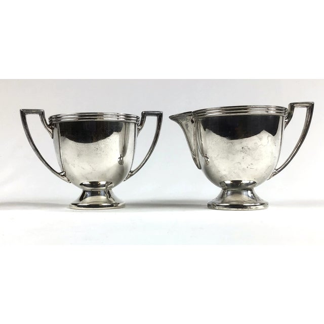 Oxford Ltd. Oxford Silver Plated Sugar and Creamer - a Pair For Sale - Image 4 of 10