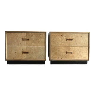 Henredon Scene Two Olive Burl Nightstands - A Pair