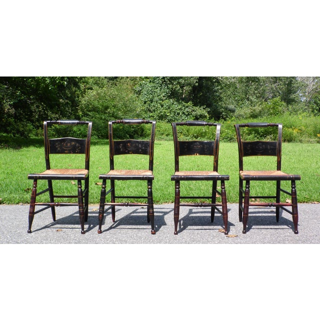 Antique Set of 4 Hitchcock Pillow Back Rush Seat Stenciled Ct Farmhouse Chairs For Sale - Image 13 of 13