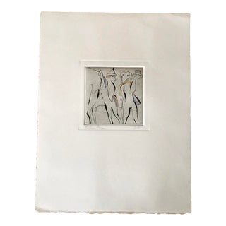 1978 Vintage Richard Bilan Abstract Figurative Etching Print For Sale