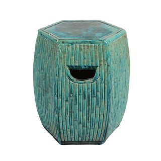 Turquoise Ceramic Bamboo Garden Stool For Sale