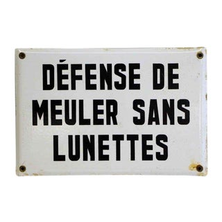 20th Century French Black & White Enamel Coated Sign For Sale