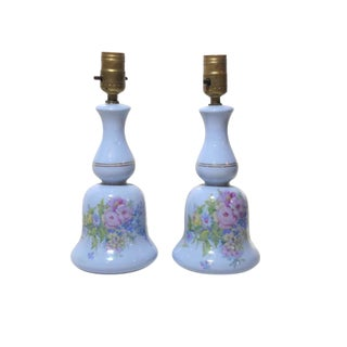 Lamps Vintage Ceramic Floral Pair Matching Light Baby Blue