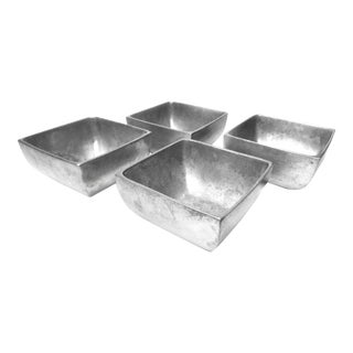 Vintage Nambé Alloy Square Silver Bowls - Set of 4 For Sale