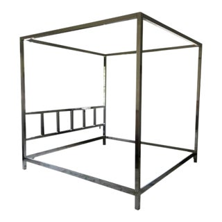 1960's Pace Collection Chromed Queen Size Canopy Bedframe For Sale