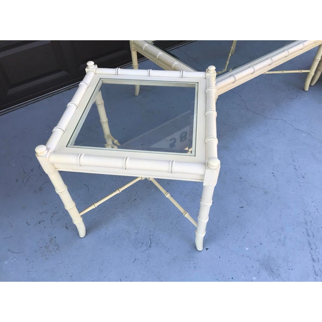 Clear Glass Vintage Chinoiserie Thomasville Faux Bamboo Coffee Table and Two Side Tables - Set of 3 For Sale - Image 6 of 8