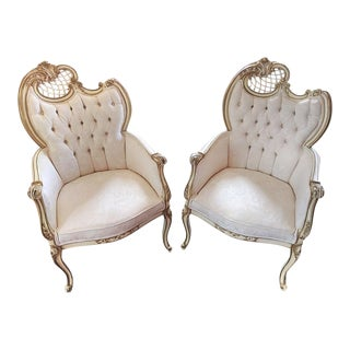 Vintage French Provincial Doves & Ribbon Fireside Chairs - A Pair