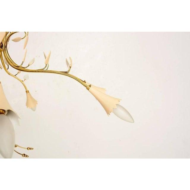 Brass Leaves Italian Chandelier For Sale In San Diego - Image 6 of 6