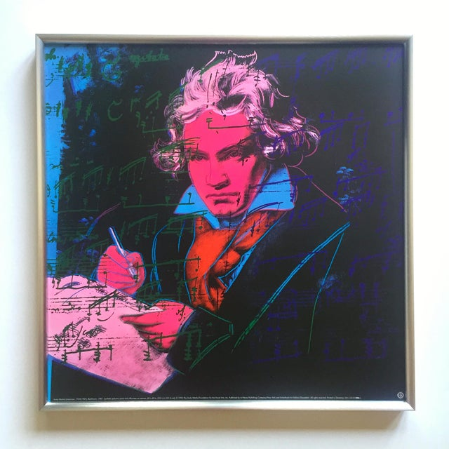 "Andy Warhol Foundation Vintage 1992 Lithograph Print Framed Pop Art Poster "" Beethoven "" 1987 For Sale - Image 12 of 13"