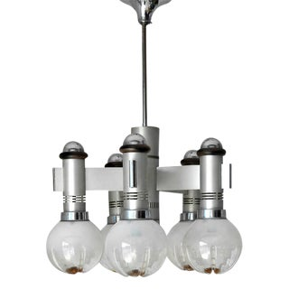 Murano Glass Globes Chrome Pendant by Sciolari For Sale