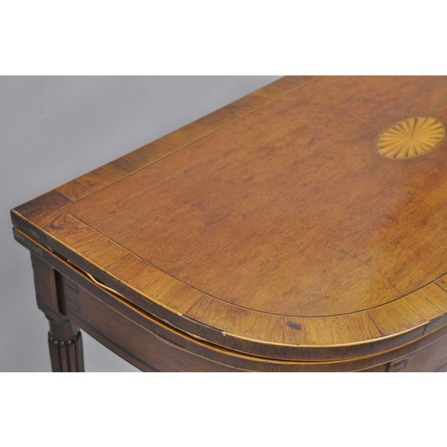 Brown Pinwheel Inlay Flip Top Game Table Mahogany Rosewood English Sheraton Federal For Sale - Image 8 of 12