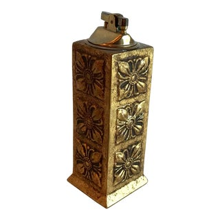 Italian Florentine Gilt Carved Wood Table Lighter For Sale