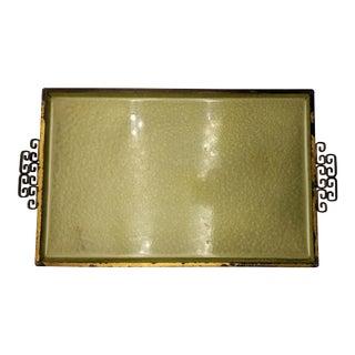 Mid-Century Moiré Glaze Keys Green Enameled Metal Tray