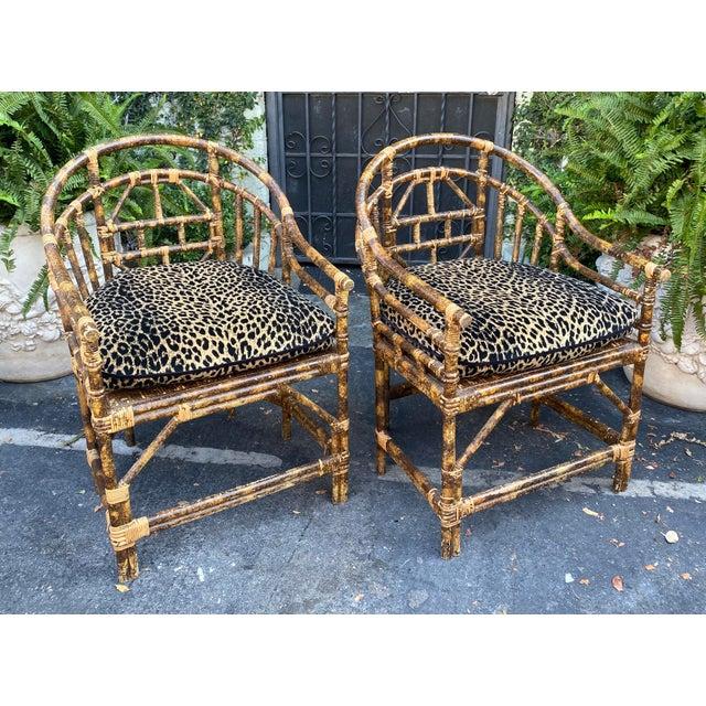 Regency Style Bamboo Barrel Chairs w Cheetah Cushions - A Pair