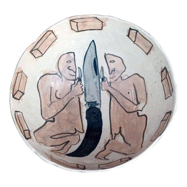 Vintage Marilyn Andrews Massachusetts Folk Art Art Pottery Bowl For Sale