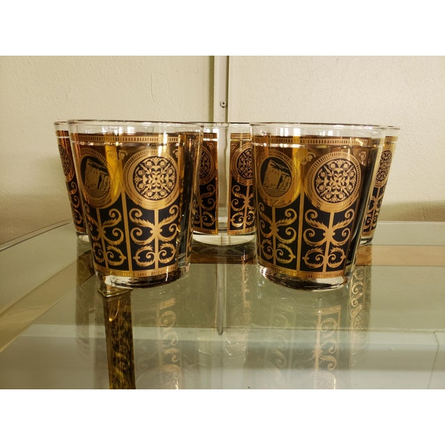 Libbey Glass Co. Mid-Century Libbey 1965 Black and Gold Lowball Glasses - Set of 5 For Sale - Image 4 of 4