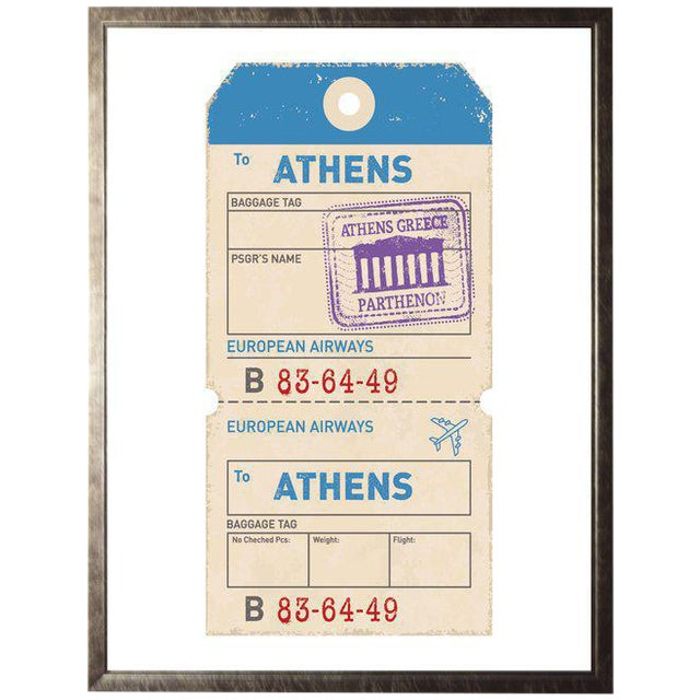 Athens Travel Ticket in Pewter Shadowbox - 23.5ʺ x 29.5ʺ For Sale