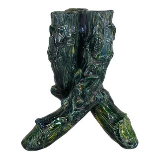 Mid 19th Century Continental Majolica Porcelain Twisted Tree Trunks Form Vase For Sale