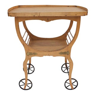 Early 20th C. Wooden Tea Cart For Sale