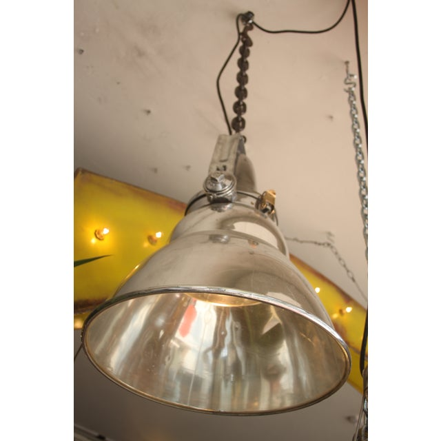 Vintage Industrial Aluminum & Steel Pendant Lamp - Image 3 of 10