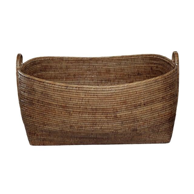 Artifacts Rattan Hoop Handle Basket For Sale
