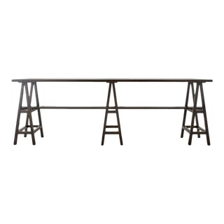 Modern Triple Pedestal Sawhorse Console Table or Bar For Sale