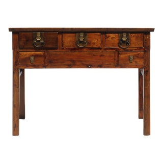 Chinese Vintage Brown Stain Hardware Plain Ming Style Altar Table For Sale