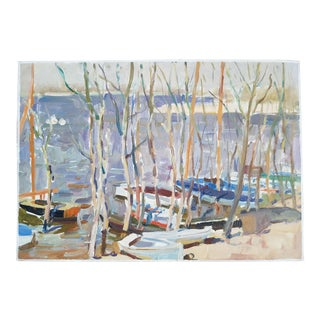 1954 Boats on the Shore Painting