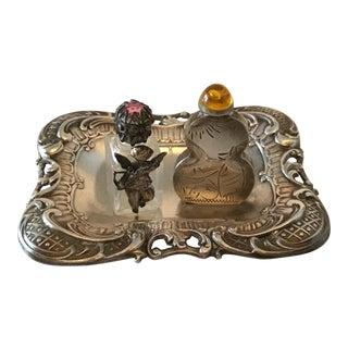 Vintage Silver Plate Mini Ornate Tray, Cupid Glass Micro-Mini Perfume Bottle, Mexican Silver Plate Micro-Mini Decorative Vessel For Sale