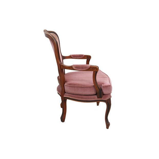 French Country Louis XV Style Dusty Rose Armchairs - A Pair For Sale - Image 3 of 8