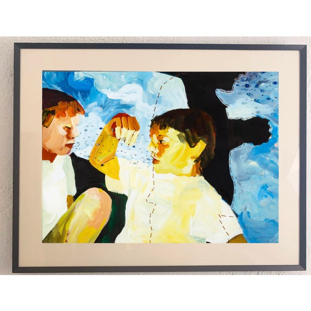Figurative Susan Durfee Thulin 'Growing Boys' Large Framed Painting For Sale - Image 3 of 13