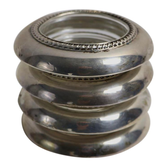 Set of 4 Sterling Rim Coasters For Sale