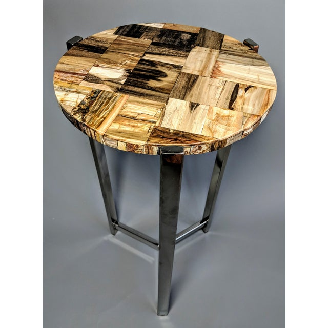 Organic Modern Petrified Wood and Chrome Side Table For Sale - Image 13 of 13