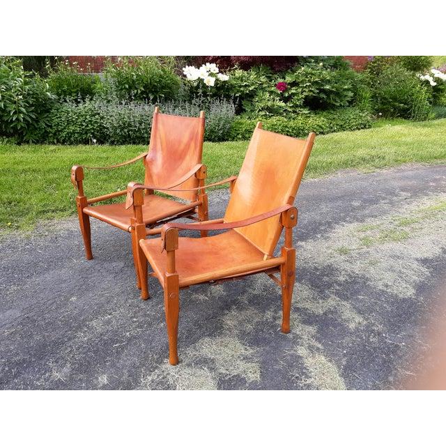 Kaare Klint Vintage Mid Century Wilhelm Kienzle for Wohnbedarf Style Safari Chairs- a Pair For Sale - Image 4 of 11