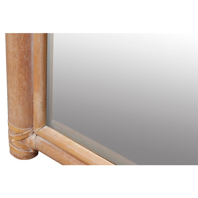 Late 20th Century Leather Bound Oak Beveled Wall Mirror For Sale - Image 5 of 7