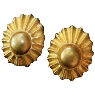 Hermes Paris Gilt Metal Sun Burst Clip on Earrings in Hermes Pouch For Sale
